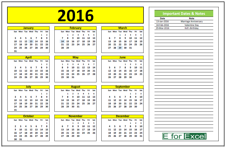 how to make a perpetual calendar in excel