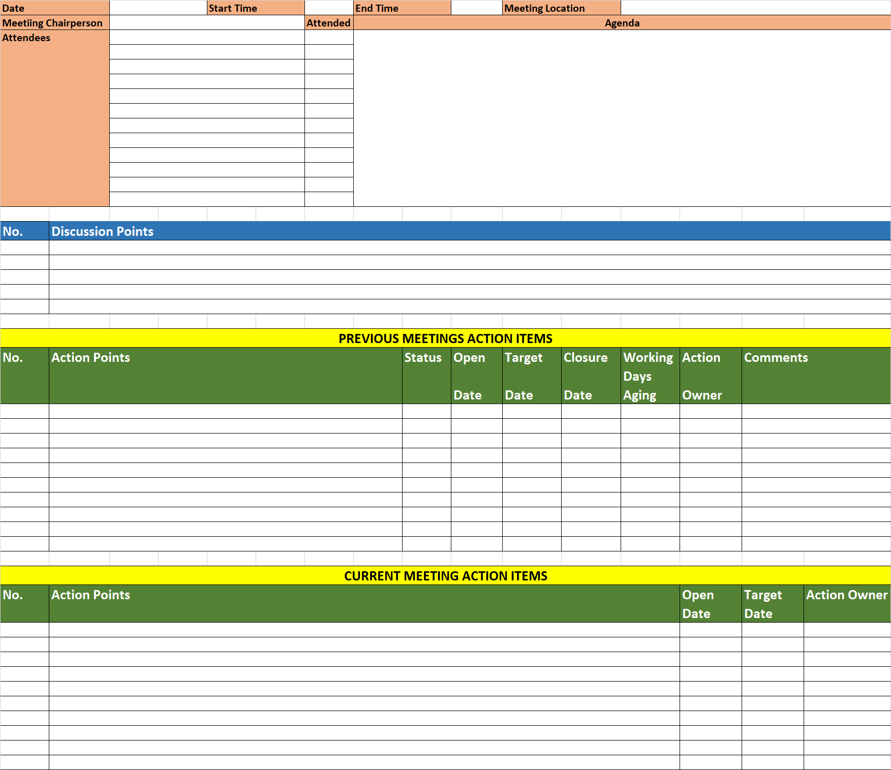 Downloads 19 - Excel based Minutes of Meeting Template | E ...